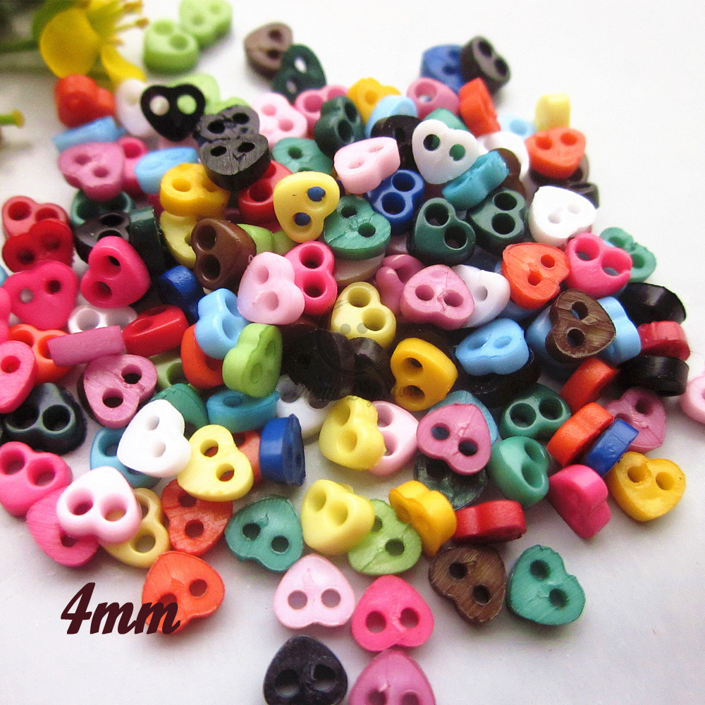 New Tiny buttons 250pcs 4mm heart mini button for dolls clothes mixed / 1 color scrapbook handmade crafting accessories supplies