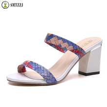 Women Fashion High Heels Slipper Sexy Peep Toe Knitted Crystals Party Shoes Woman Summer Slip on Flip Flops Platform Sandals недорго, оригинальная цена