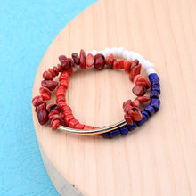 BOJIU Natural Red Coral Bracelets For Women Female Deep Red Blue White Stretch Stone Beads Bracelet Set Femme Jewelry BCSET153(China)