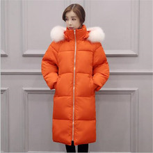 2016 New Women Loose Winter Coat Big Fur Collar Hooded Down Cotton Padded Jacket Fashion Stand-collar Long Outerwear Parka A1936