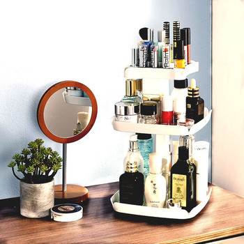 Caja de almacenamiento de cosméticos de plástico de 360 grados de rotación organizador de maquillaje soporte de lápiz labial cosméticos Organizadores cajas de almacenamiento