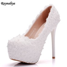 New Platform Beautiful Pearl Lace White Wedding Shoes Women Pumps Party Dance Sexy High Heeled Shoes 14 CM XY-A0007 все цены