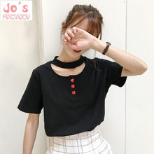 Off spalla top roccia coreano t shirt sveglio di estate donna top harajuku kawaii pulsanti di amore Chocker delle donne t-shirt(China)