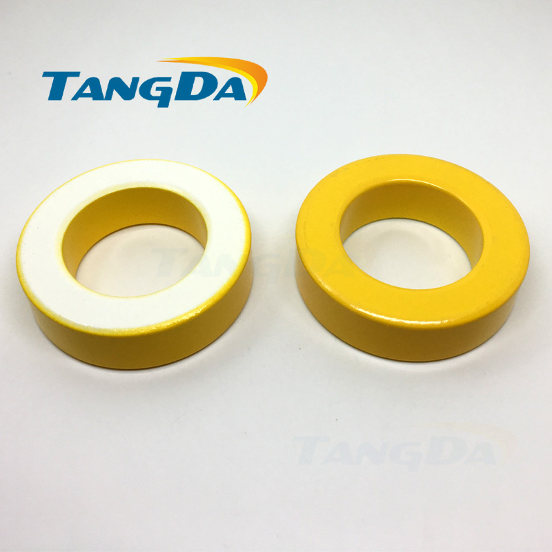 T200 Tangda Iron Power Cores magnetite T200-26 50.8*31.8*14 mm yellow white Ferrite Toroid Core iron power core with coating AW tangda iron nickel cores 50 50%ni ch234060 smps rfi hi flux high flux core 23 4 14 4 8 9 60u