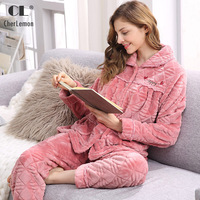CherLemon Women Warm Cozy Flannel Pajamas Winter Long Sleeves Homewear Ladies Super Soft Sleep Lounge Suit