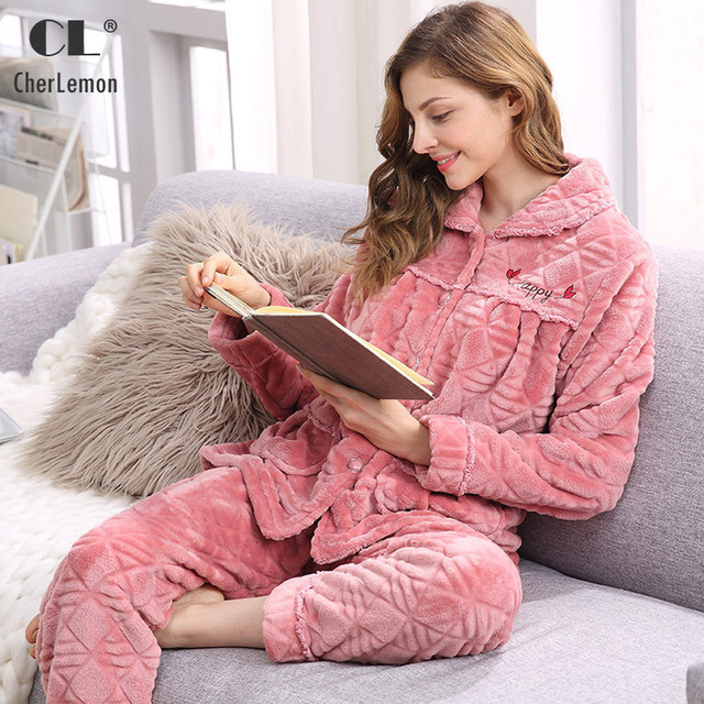 CherLemon Women Warm Cozy Flannel Pajamas Winter Long Sleeves Homewear  Ladies Super Soft Sleep Lounge Suit 9cd5f6c99