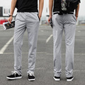 2016 Elastic Waist Mens Joggers outside Sweatpants New Men's Fashion Casual Slim Small Straight Slacks Knit Pants Male