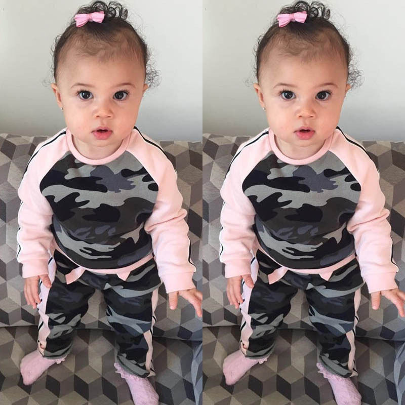 Fashion Toddler Kids Baby Girl Clothes Fashion Camouflage T-shirt Tops Pants 2PCS Outfits Clothing Set Casual Suit Children Sets teenage girls clothes sets camouflage kids suit fashion costume boys clothing set tracksuits for girl 6 12 years coat pants