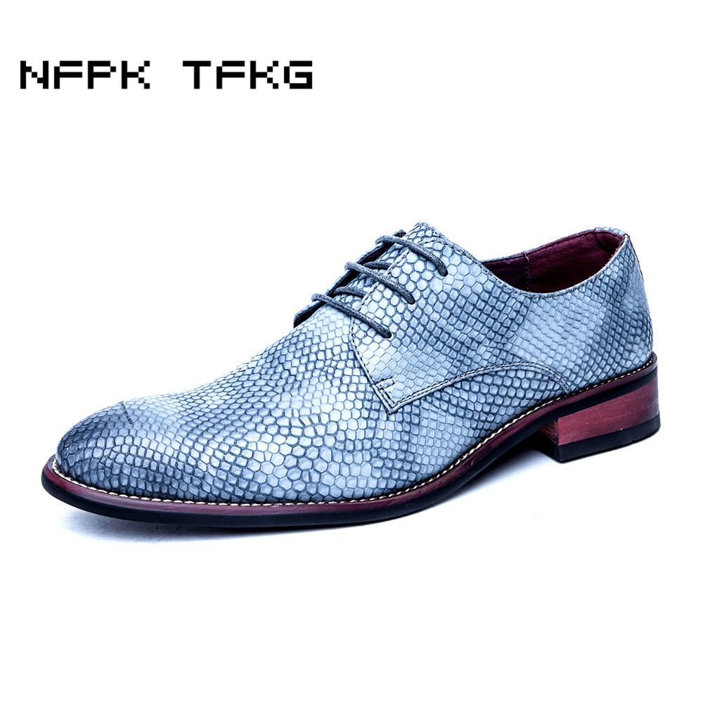 men fashion business dress snake grain print genuine leather shoes wedding party nightclub oxfords flats shoe soft comfort lace цены онлайн