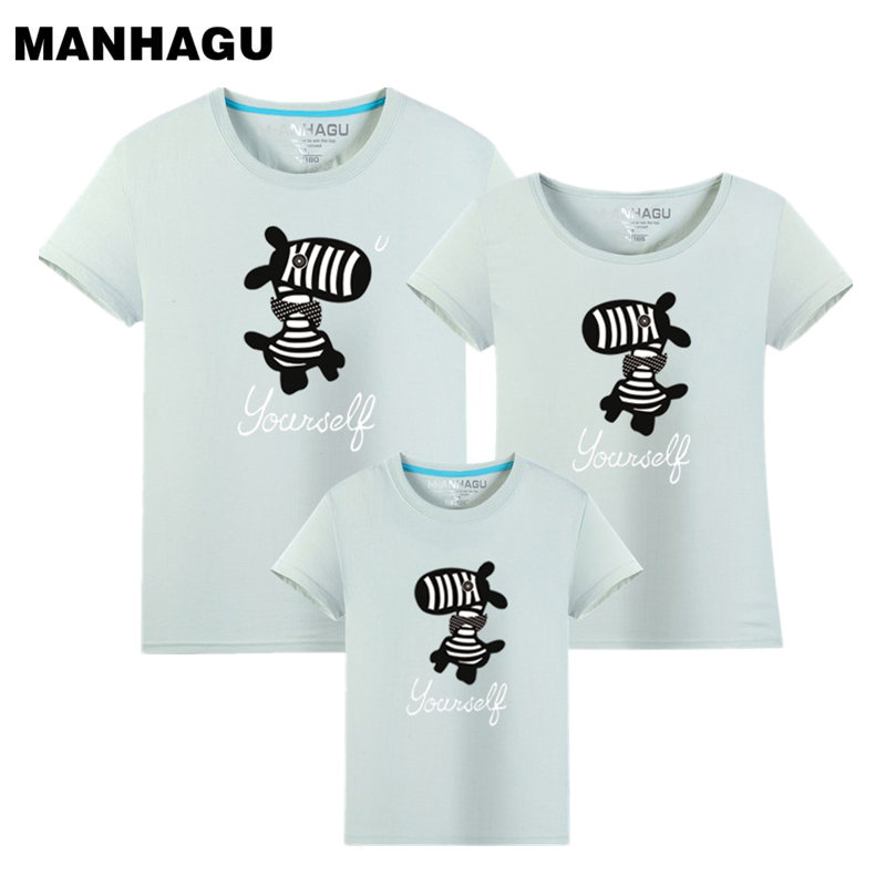 MANHAGU Brand 1 piece Family Look Animals zebra T Shirts Summer Family Matching Clothes Fa