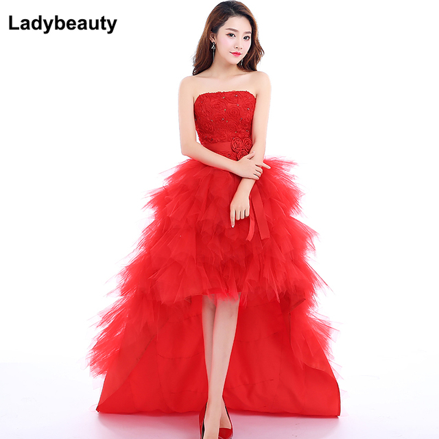 Ladybeauty Low price the bride royal princess wedding dress short train formal dress short design wedding growns