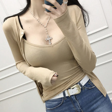 two pieces set vest cardigan T-shirt 2 pieces suits Autumn T Shirt Women Casual Female Tee Ladies Tops Solid cotton Sexy slim cheap WAITSUN NONE Tees Full REGULAR 2118 Broadcloth V-Neck Office Lady