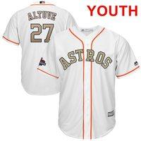 Programa juventud Houston Astros José Altuve Majestuoso Blanco 2018 de Oro Bajo Fresco Jersey Jugador