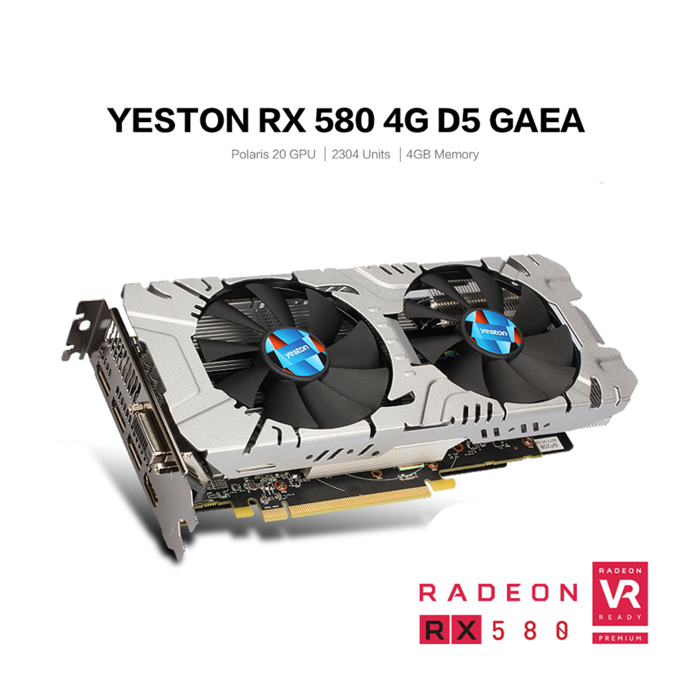 Yeston Radeon RX 580 GPU 4GB GDDR5 256 bit Gaming Desktop computer PC Video Graphics Cards support DVI/HDMI 3