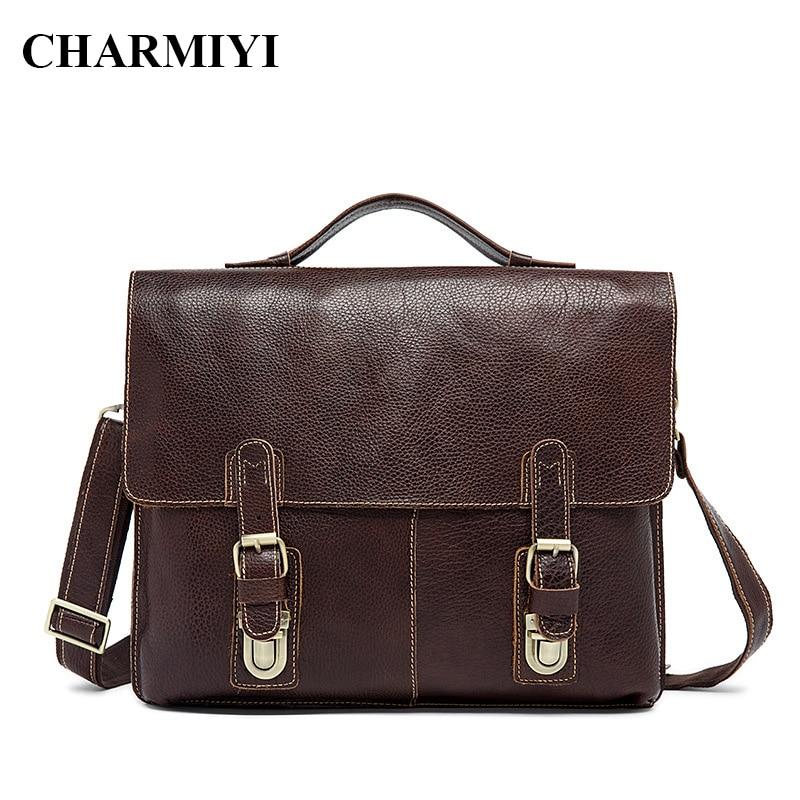 CHARMIYI Genuine Leather Men Briefcase Laptop Handbags Vintage Men's Messenger Bags Man Brands Cover Shoulder Bag Male Tote Bag