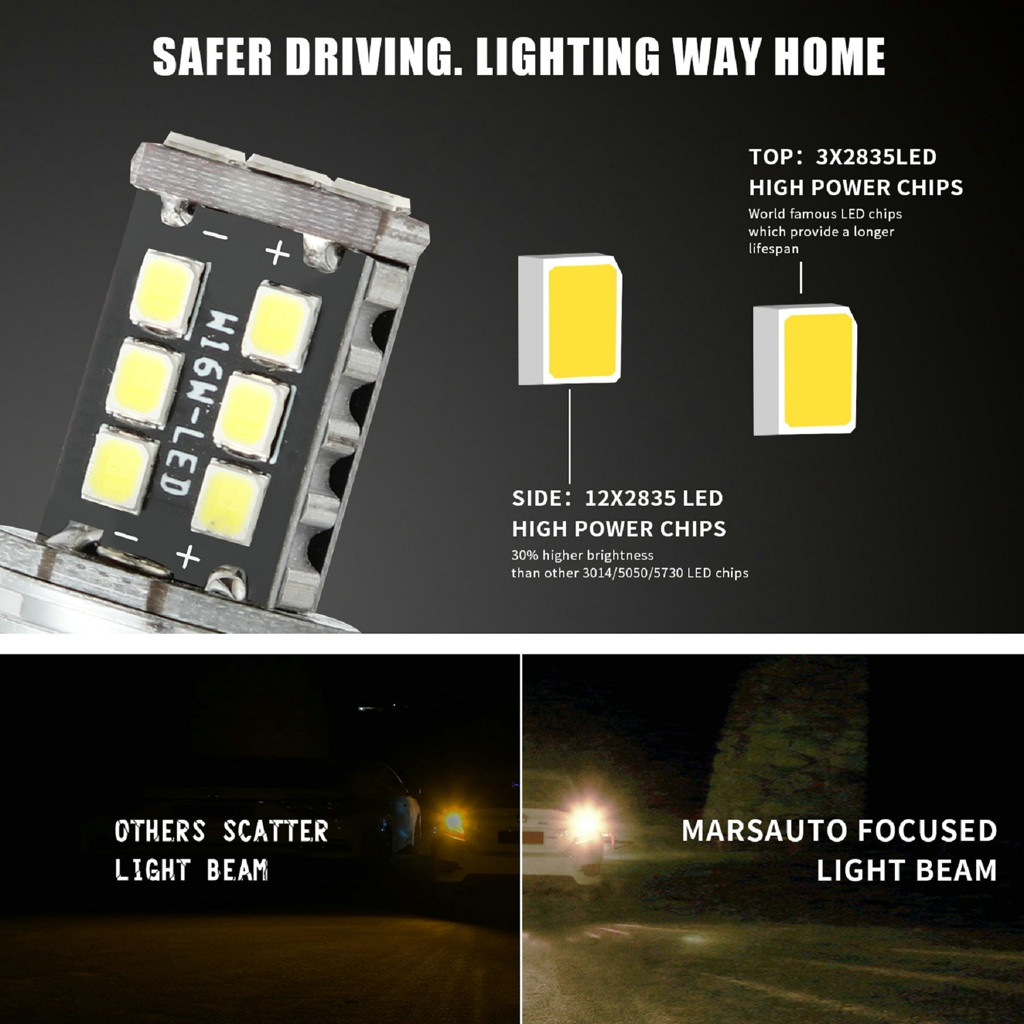 Image 2 - 2x T20 W16W 15 SMD 4014 Error Free LED Car Reverse Back Light Bulbs 6000K White LED Lamps For Cars LED Turn Signals Light-in Signal Lamp from Automobiles & Motorcycles