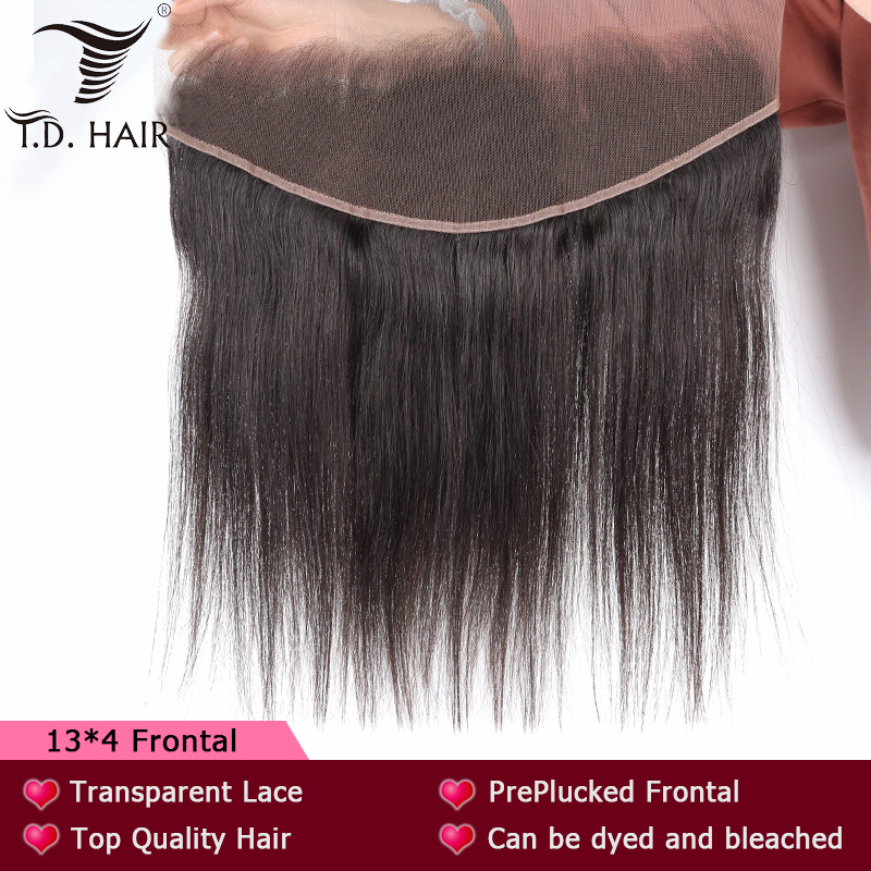 TD HAIR Mink Brazilian Remy Hair Extension Swiss Lace Frontal Transparent Lace 13x4 Straight Hair PrePluncked With Baby Hair