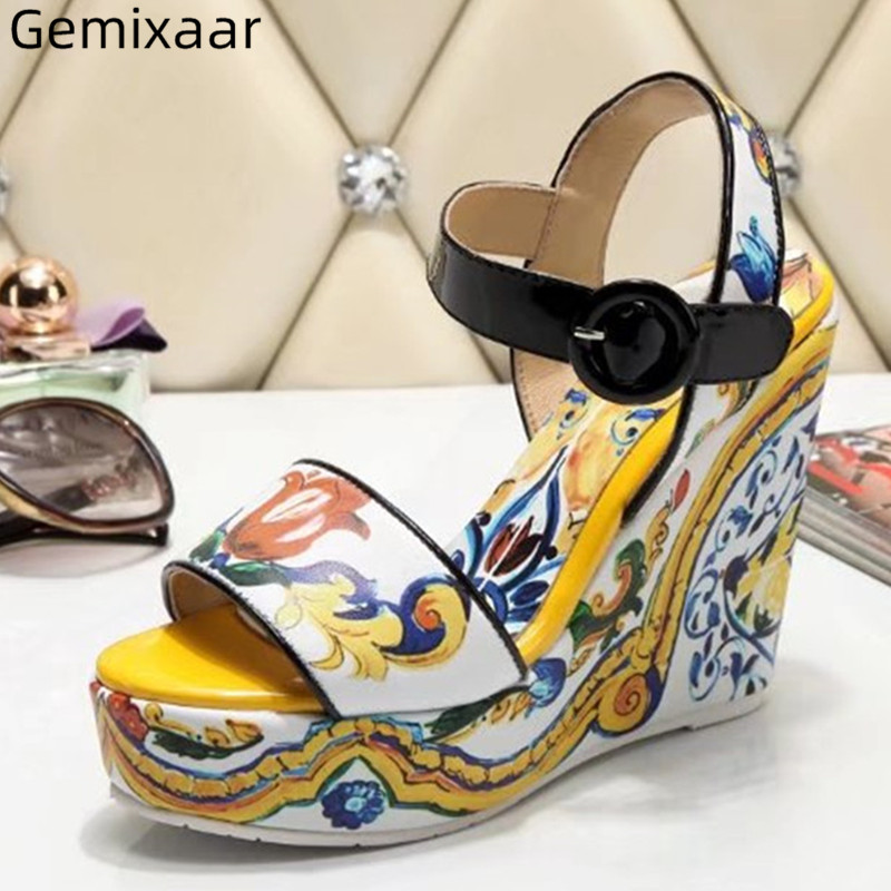 Genuine Leather Yellow Color Print Flower Shoes Woman Peep Toe Slim Shallow Sandals Ankle Buckle Wedges High Heel Women SandalsGenuine Leather Yellow Color Print Flower Shoes Woman Peep Toe Slim Shallow Sandals Ankle Buckle Wedges High Heel Women Sandals