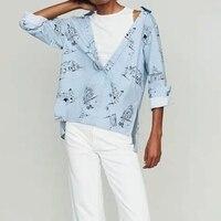 city print striped shirt 2019 spring new open shoulder stitching irregular long sleeve blouse