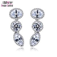 DreamCarnival 1989 Long Drop Earings for Women Rhodium Gold Color Oval Round Eye Different Shape Big CZ boucle d'oreille Brincos