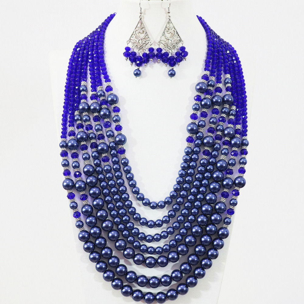 Beautiful blue round imitation shell simulated-pearl 7 rows necklace earrings crystal beads elegant weddings jewelry set B1308