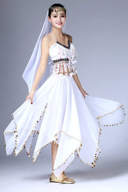 Women Sequin Belly Dance Costume Top Skirt Women Clubwear Suit Set