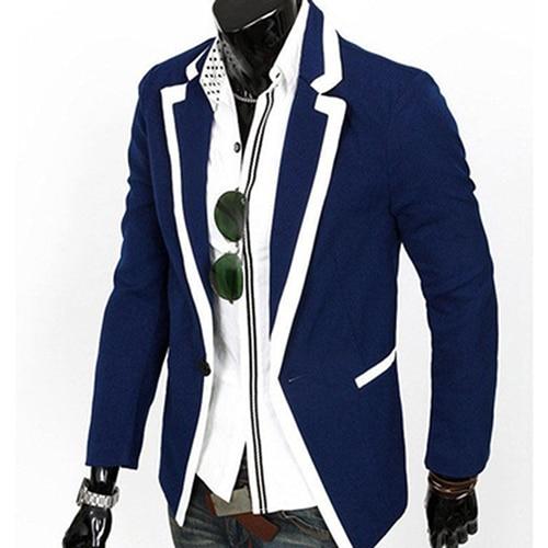 Men Fashion Slim Suit Business Notch Lapel One Button Blazer Jacket Coat Top