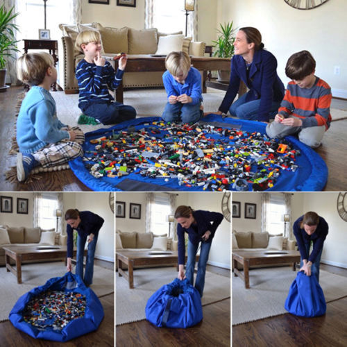 Portable Kids Toy Storage Bag and Play Mat Lego Toys Organizer Bin Box XL Fashion Practical Storage Bags