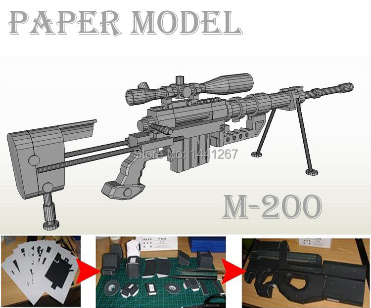 3D papier modèle M200 fusil de Sniper fait à la main papier pour bricolage pistolet jouet 1:1 armes à feu fini longueur 120 cm Cosplay pour guerre jeu Puzzle jouet