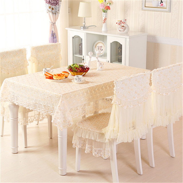 Yd European Luxury Plum Flower Yarn Lace Embroidered Table Cover Dining Tablecloth Chair
