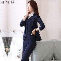Куртка + Брюки для девочек + жилет Темно синие женские Бизнес работы Костюмы женские офисные равномерное тонкий дамы формальных брюк Костюм