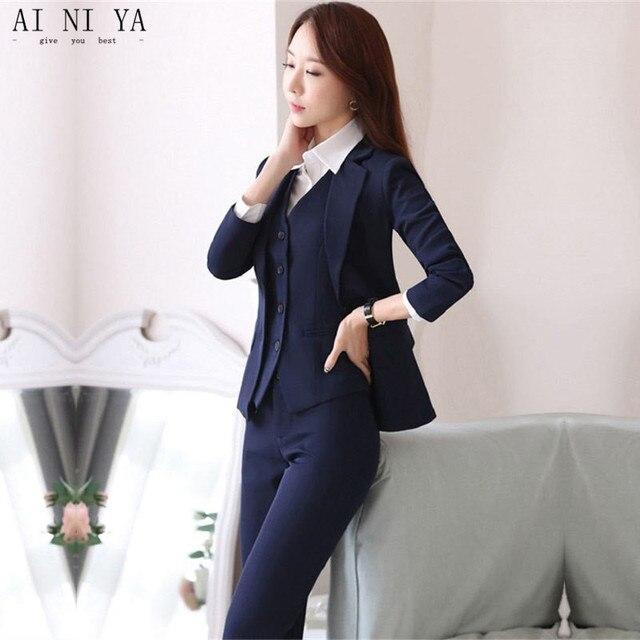 49d05f968f97 Jacket+Pants+Vest Navy Blue Womens Business Work Suits Female Office  Uniform Slim Ladies Formal Trouser Suits 3 Piece Blazer