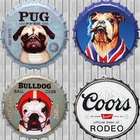 ZJY Pug Bulldog Metal Tin Beer Bottle Cap Decorative Plate Plaque Vintage Pub Wall Art Metal Sign Vintage Home Decor 35CM