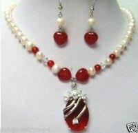 תכשיטי מקסים! אבן אדום פנינה שרשרת עגיל הגדר>> * 18 K מצופה זהב סיטונאי שעון קוורץ אבן CZ קריסטל