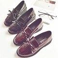 AVVVXBW Moda Primavera Apartamentos Sapatos Estilo Britânico das Mulheres Do Vintage Borla Cabeça Redonda Bowknot Sapatos Único das Mulheres Sapatos de Couro
