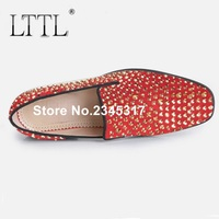 Red Suede Men Shoes New Fashion Gold Rhinestone Mens Loafers Handmade Luxury Crystal Men S Slipper