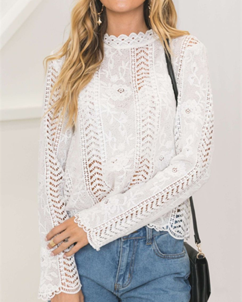 New font b Women b font fashion sexy Lace floral Hollow Out font b shirt b