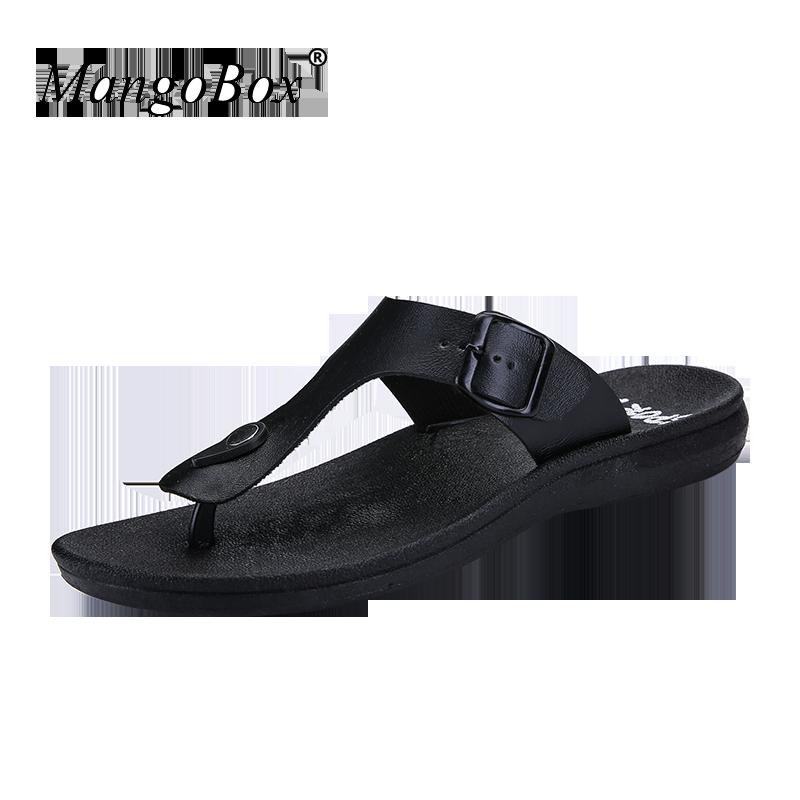 Men Slippers Summer Flat Black Brown Flip Flops Mans Beach Shoes Male 2018 Sandalia