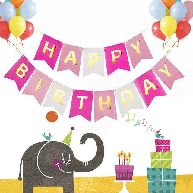 13 Stks Set 11 15 Cm Roze Gelukkige Verjaardag Banner Meisje Jongen
