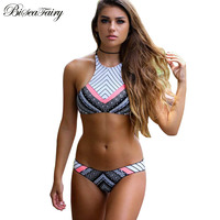 Sexy High Neck Bikini Women Swimwear Halter Swimsuit 2016 Newest Brazilian Bikini Set Bandage Print Retro
