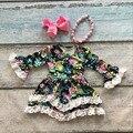Meninas do bebê vestido de crianças vestido meninas vestido floral do bebê meninas vestido de festa do laço crianças queda boutique vestido com arcos e colar