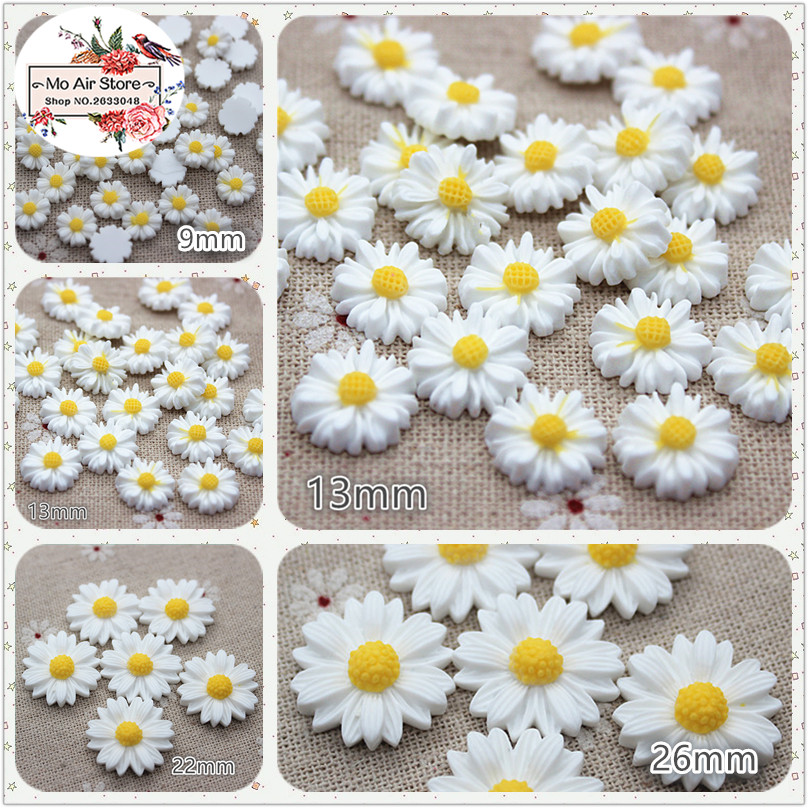 9/13/16/22/26mm White Daisy Flower Resin Flatback Cabochon DIY Jewelry Phone Decoration No Hole