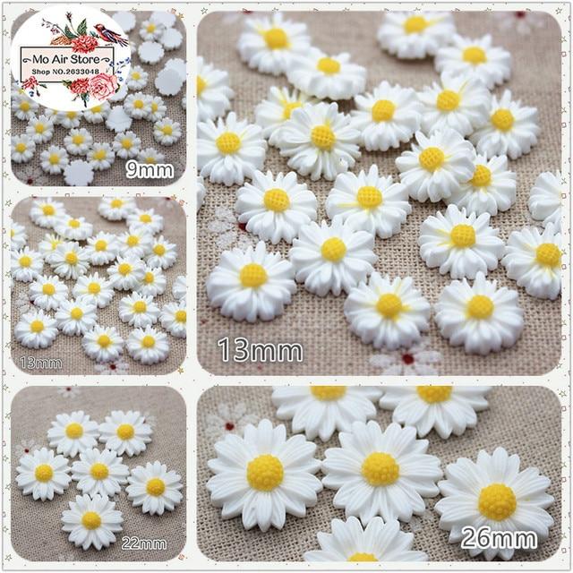 9/13/16/22/26mm white daisy flower resin flatback cabochon DIY jewelry phone decoration No Hole