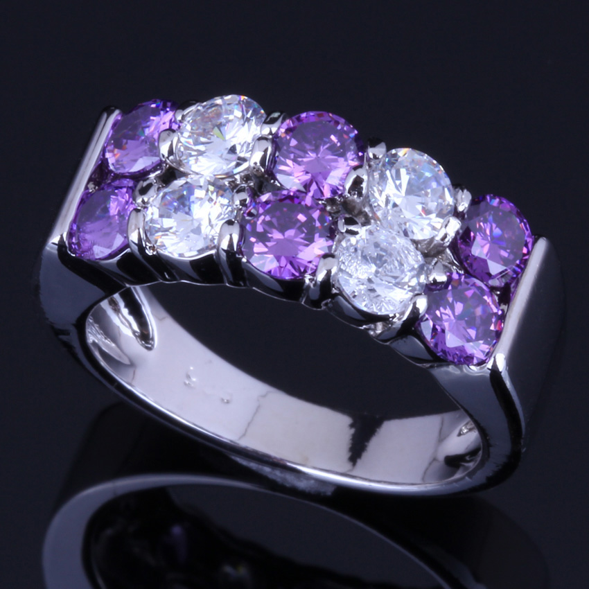 Pretty Round Purple Cubic Zirconia White CZ 925 Sterling Silver Ring For Women V0080
