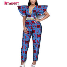 African Print Women Jumpsuit V-Neck special Sleeveless Autumn Sexy Leg Pant Ladies Jumpsuits Rompers customizable WY3945