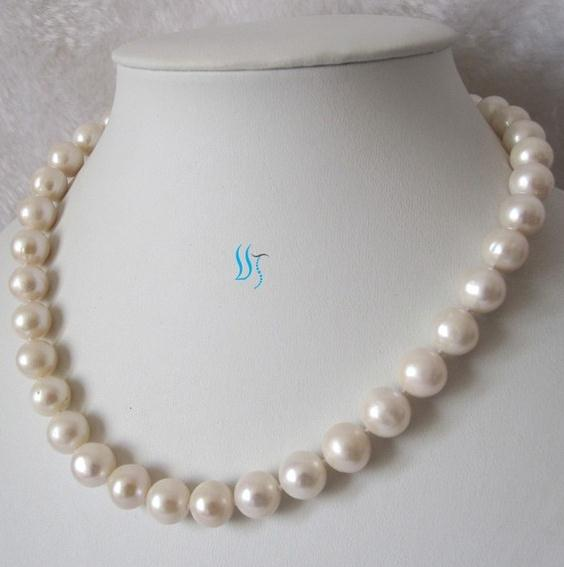 White Pearl Jewellery 18 inches AA 11-12MM White Color Nearly Round Natural Freshwater Pearl Necklace New Free Shipping