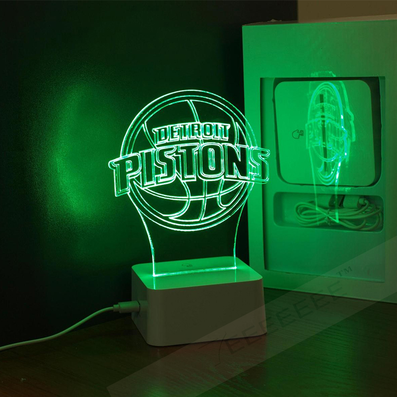 Free Shipping DETROIT PISTONS (DET) 3D Lamp NBA Basketball