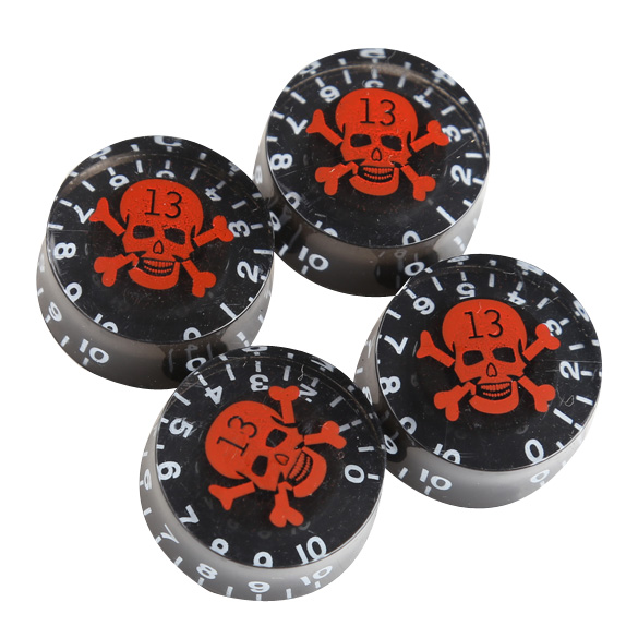 4Pcs Speed Control Knobs Red Skull Pattern for LP Electric Guitar Black ARE4