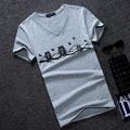 2016 Summer New Men Owl Print Tees The Man Summer Wear Men's Short Sleeve T-shirt Brand 5 color M-5XL  Tshirt Homme