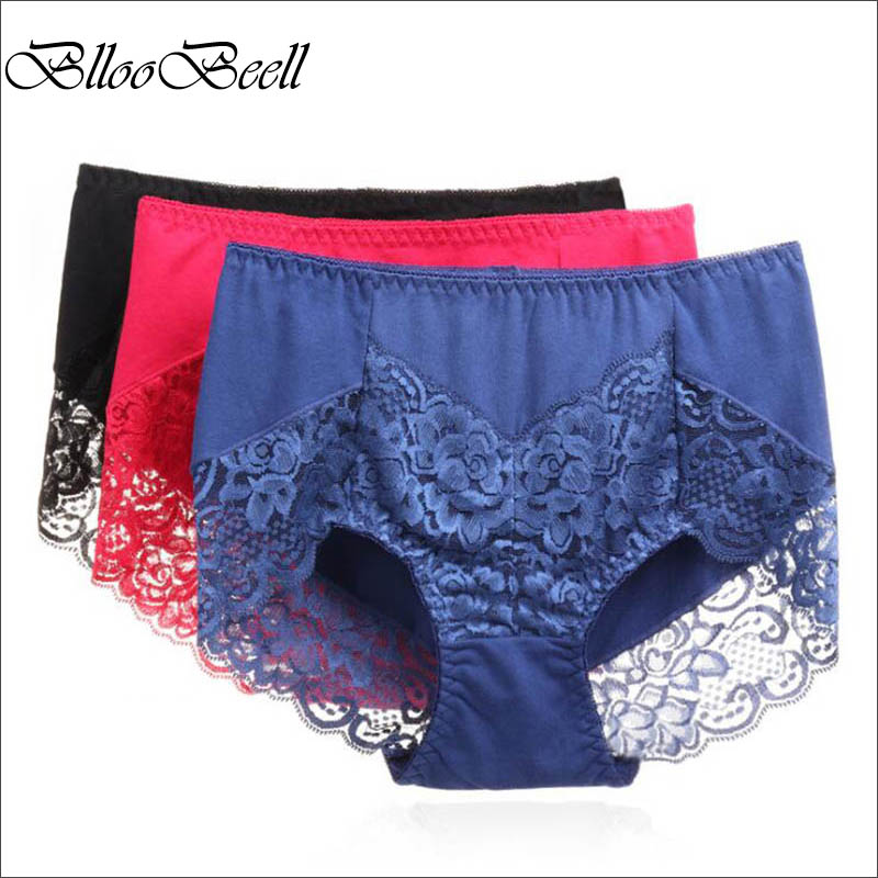 BllooBeell 3piece Womens Cotton Underwear Panties Girls Sexy Lace Briefs Hollow Out High Mid-Rise Ladies Lingerie Big Size XXXL